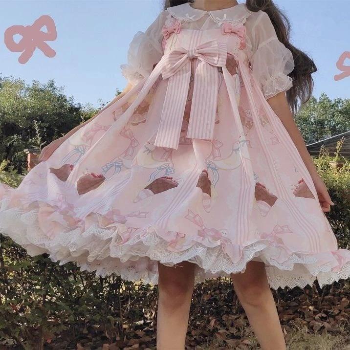 Jsk-64-2 blanc noir lapin cœur volants Boucle robe pastel goth lolita cosplay