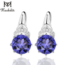 Kuololit Tanzanite Gemstone Clip Earrings for Women  Solid 925 Sterling Silver Engagement Created Gemstone Earrings Fine Jewelry