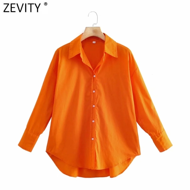 Camisa Manga Longa Feminina Zevity - Chemise Popeline 9114 8