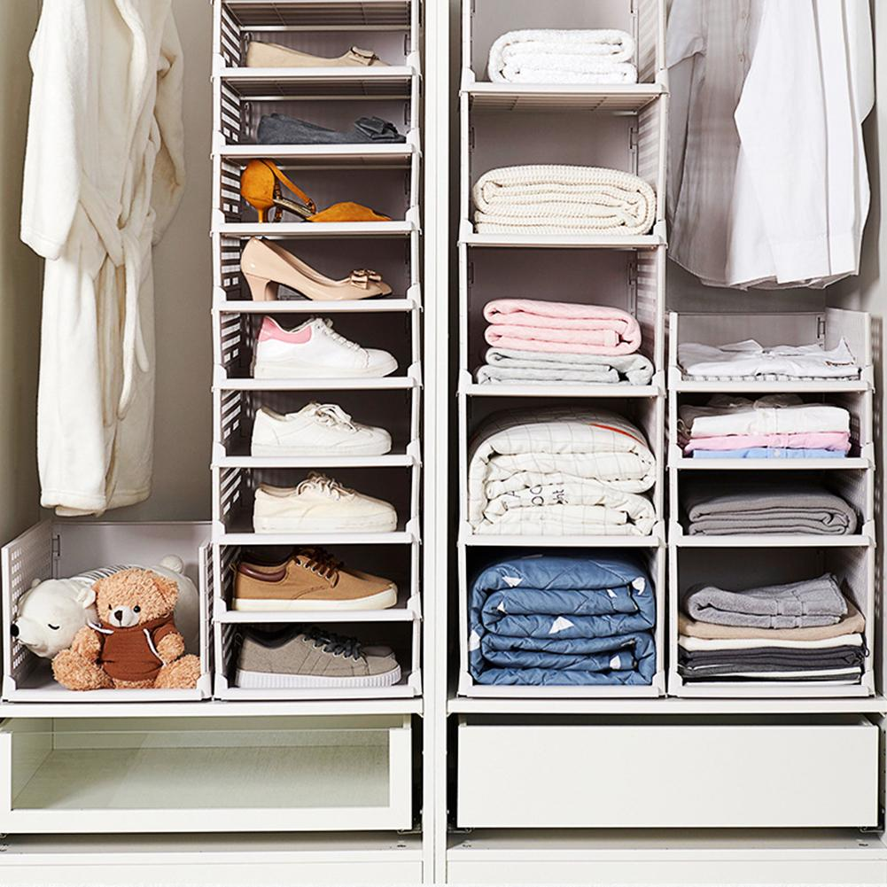 Detachable Hollow Clothes Organizer Wardrobe Partition Board Drawer Basket Shelf Box Home Cabinet Save Space Storage Rack