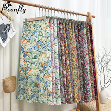 PEONFLY Vintage Floral Print Skirt Women New 2020 Spring Summer Long Sk