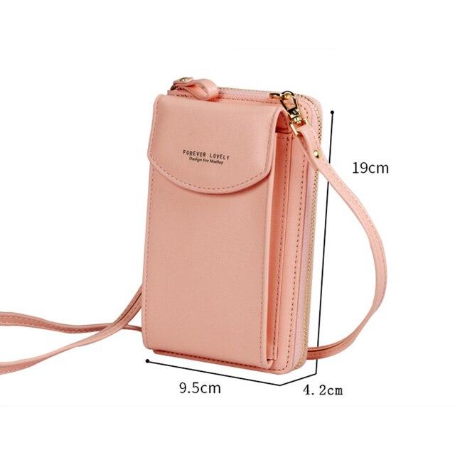 Buylor Mobile Phone Bag Women's Bag PU Handbag Pure Color Wallet Card Holders Shoulder Straps Mini Purses 2
