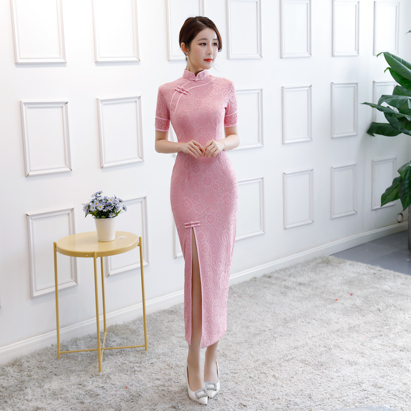 Embroidered Sister-in-Law 2019 Spring And Autumn New Products Cheongsam Slim Fit Fashion Improved Cheongsam Lace Cheongsam Long