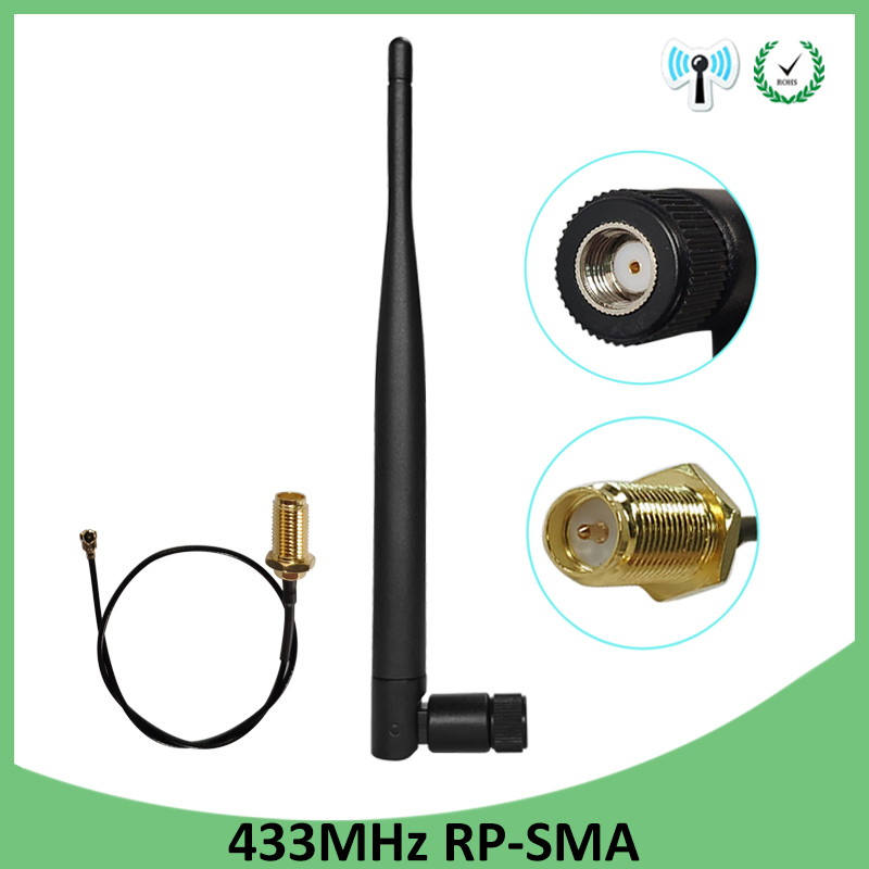 2pcs 433Mhz <font><b>Antenna</b></font> 5dbi RP-SMA Connector antena <font><b>433</b></font> <font><b>mhz</b></font> directional antenne for lora lorawan 433m + 21cm SMA Male Pigtail Cable image
