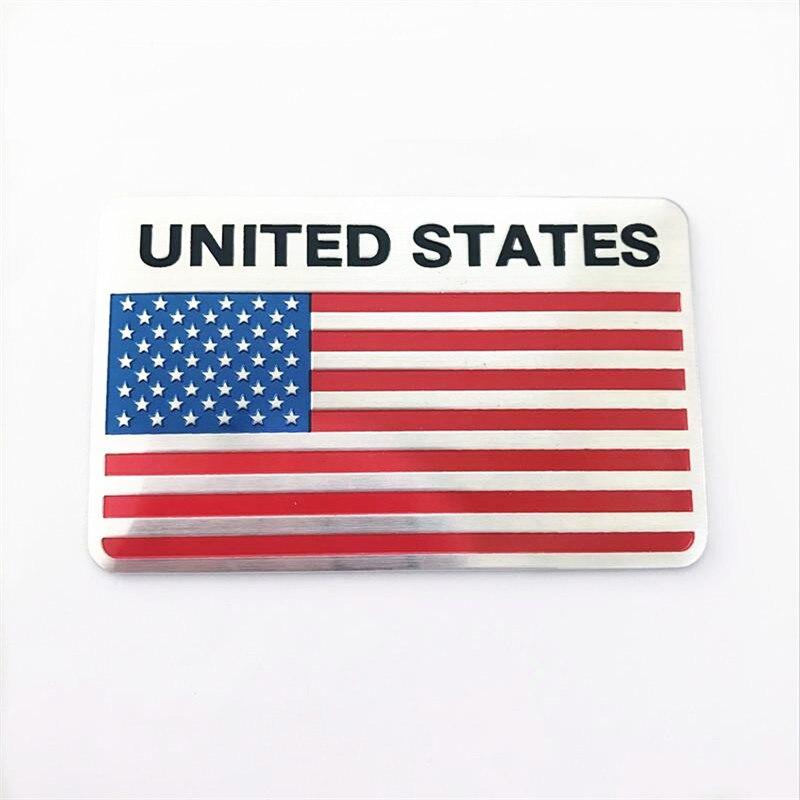 Стайлинг из алюминиевого сплава прямоугольная эмблема США Америки флаги США наклейки на автомобиль 8x5 см