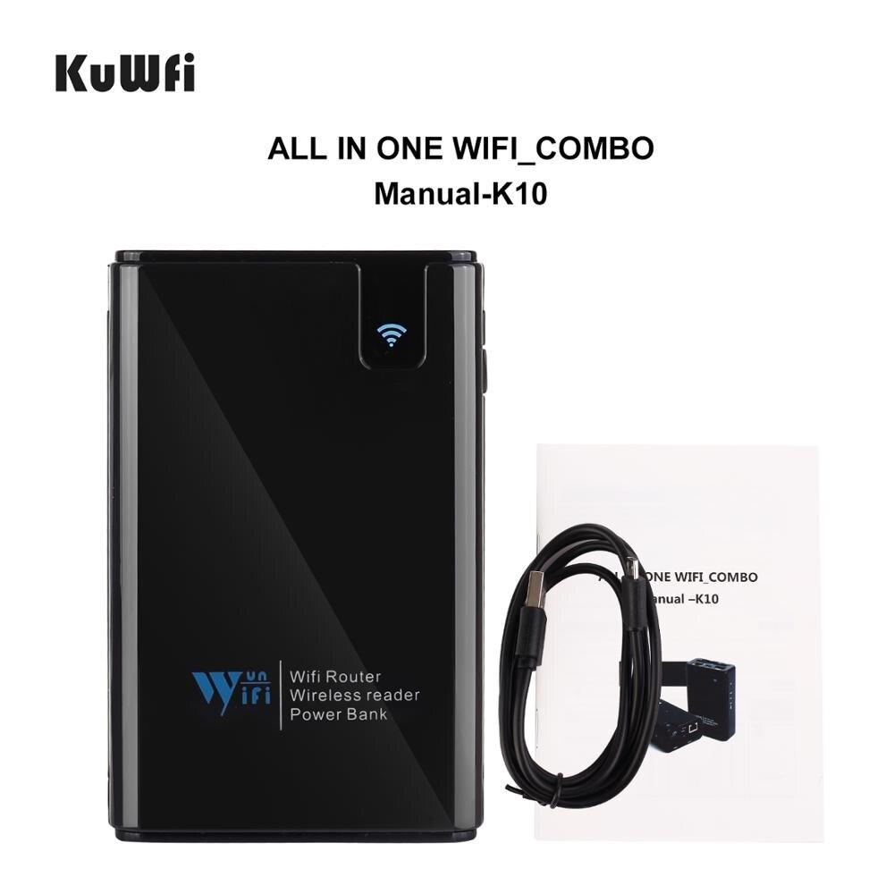 Image 4 - KuWFi, datos inalámbricos, Banco de energía para compartir, Router de viaje, lector de tarjetas SD inalámbrico, conectar disco duro portátil SSD al iPhone iPadRúteres inalámbricos   -
