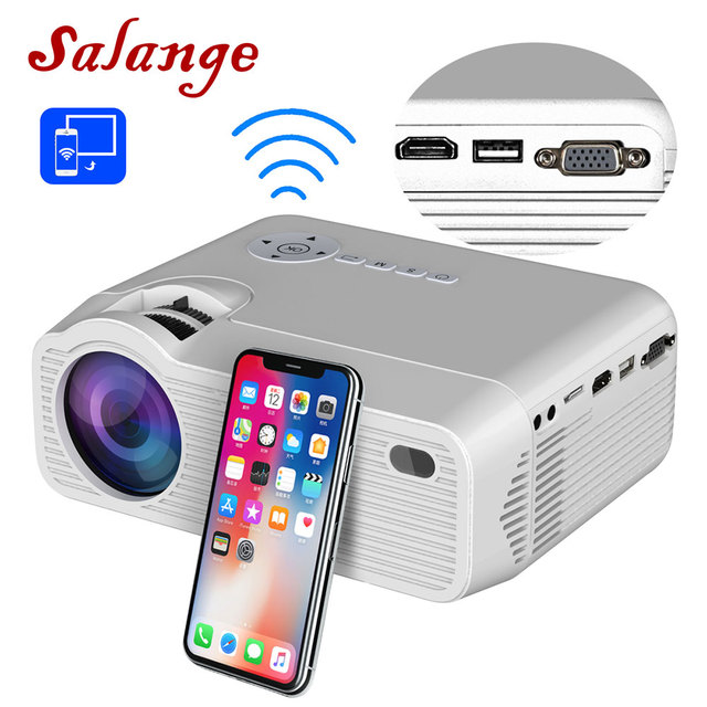Salange P40Wมินิโปรเจคเตอร์สำหรับiPhone,Wireless SYNCสำหรับโทรศัพท์สมาร์ทAndroidโทรศัพท์มือถือ,โฮมเธียเตอร์HDMI,VGA