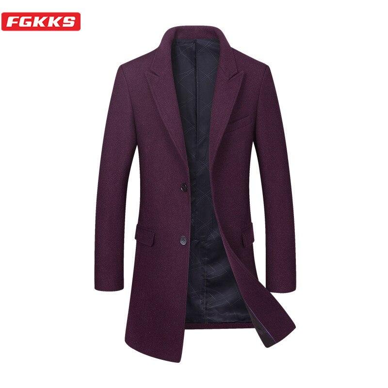 FGKKS Winter Brand Men Wool Blend Coats Men's Business Single Breasted Wool Coat Solid Color Casual Slim Wool Overcoat Male