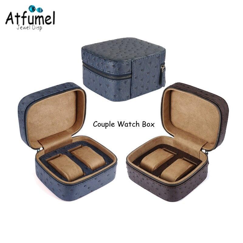 Faux PU 2 Slots Mechanical Mens Watch Bag With Portable Zipper Blue Brown Weeding Couple Wrist Watch Storage Organizer Gift Box