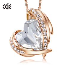 CDE Heart Pendant Necklaces for Women Hot Selling Crystals F