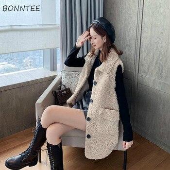 Vest Women Plus Size Elegant Camel Single Breasted Mid-long Vests Womens Waistcoats Korean Fashion New-arrival Clothes Pockets