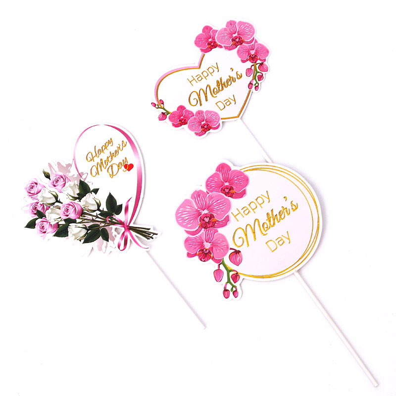 Cake Topper Pink Heart Flower Decoration Happy Mother`s Day Cake Toppers For Mother`s Day Gift Cupcake Dessert Supplies