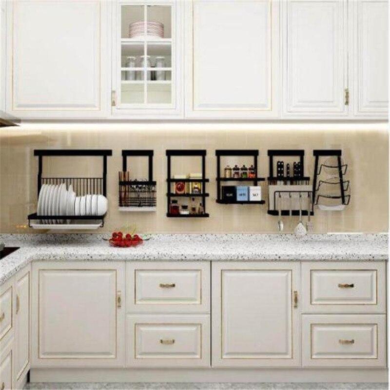 Kitchen Organizer Stainless Steel Knife Bowl Dish Drain Storage Rack Black Wall Shelf