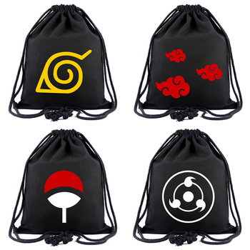 Anime Naruto Canvas Bag Japanese Animation Drawstring Backpack for Students Boys Girls Cloth Bags Portable Organizer Backpacks hot style canvas drawstring bags animation jojo bizarre adventure assassin s creed attack on titan gravity falls backpack bag