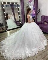 Princess Ball Gown Lace Wedding Dress 2019 Arabic Vintage Plus Size Sequined White Puffy Tulle Muslim Vestido De Novia Bridal