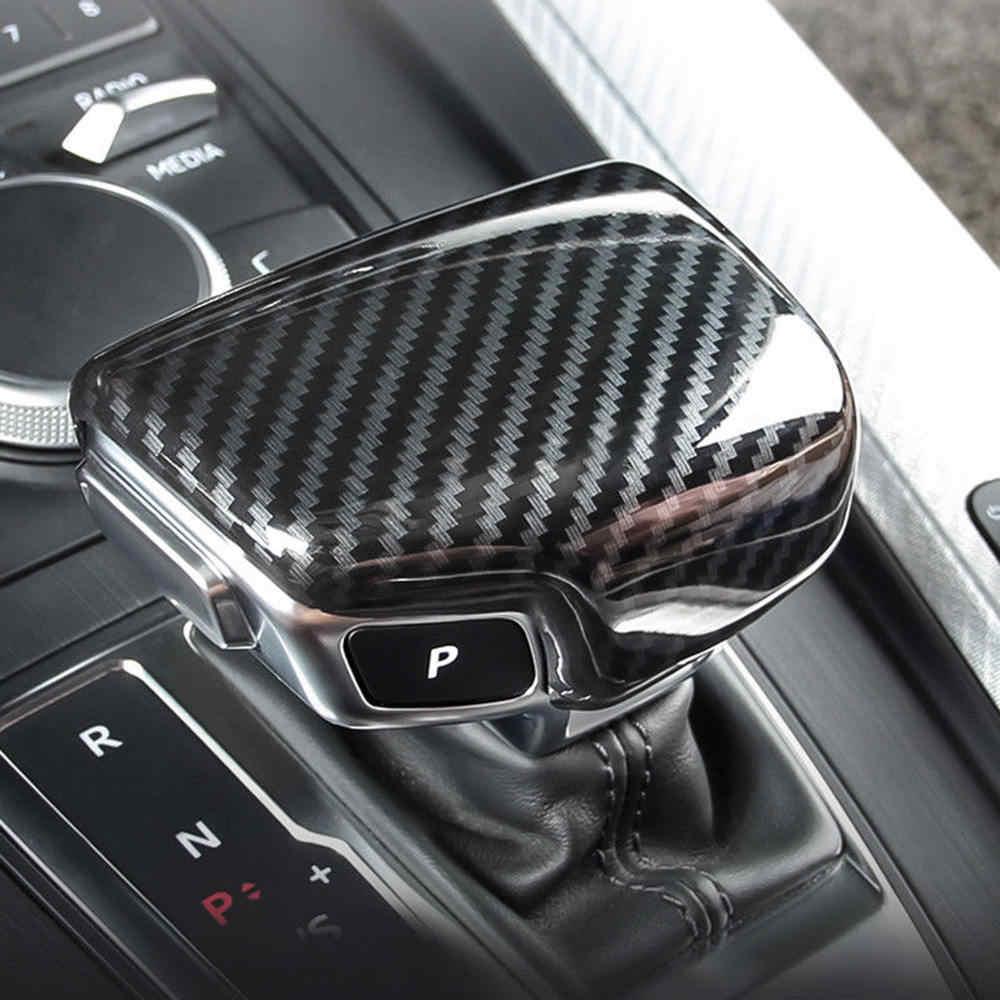 เกียร์ Shift Knob หมวกคาร์บอนไฟเบอร์อุปกรณ์เสริมสำหรับ Audi A4 B9 A5 Q5 Q7