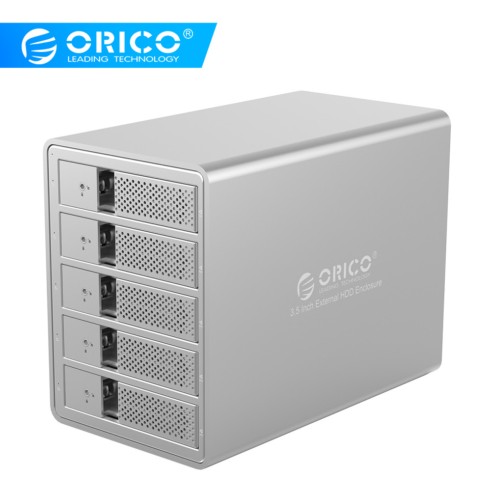 ORICO USB3.0 5 Bay 3.5 Inch SATA To USB 3.0 Hard Drive Docking Station 80TB With 150W Internal Power Aluminum HDD Case Tool Free