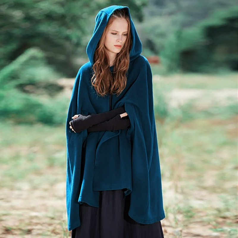 Fashion Vintage Women/'s Hooded Cloak Gothic Witch Cloak Capes Hip Hop Short Cape