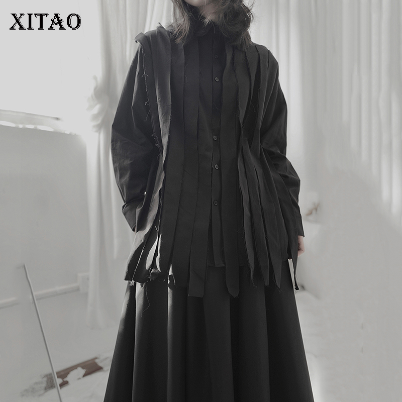 XITAO Dark Style Irregular Stitching Shirt Trend Solid Color Womens Tops And Blouses Harajuku Minority Women Clothes DMY4474