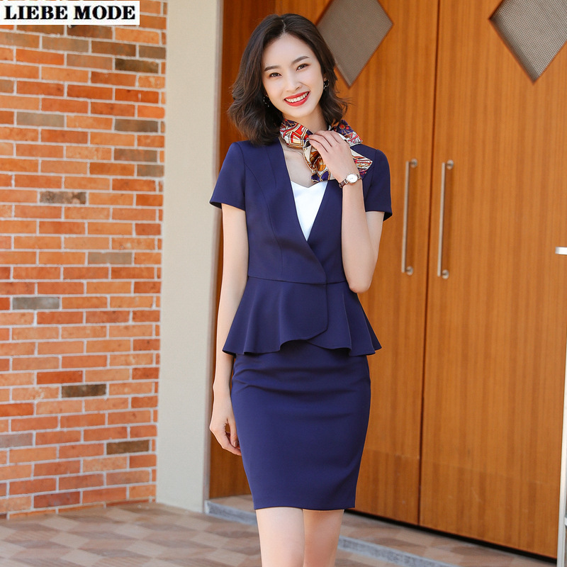 2020 New Summer Skirt Suit Female Short Sleeve V-neck Jacket and Skirt Formal Work 2 Piece Set Uniform Clothes Plus Size