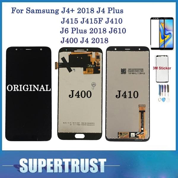 With Tempered Glass For Samsung Galaxy J4+ 2018 J4 Plus J415 J415F J410 J6 Plus 2018 J610 J400 J4 2018 LCD Display Touch Screen