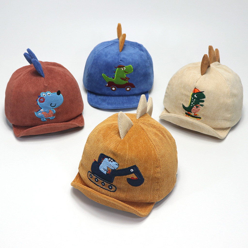 Cute 1-4Y Infant Baby Boy Kids Cartoon Dinosaur Eaves Baseball Cap Sun Hat Beret