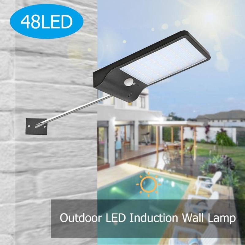 48LED Outdoor Solar Wall Light with Pole IP65 Waterproof Motion Sensor Lamp title=