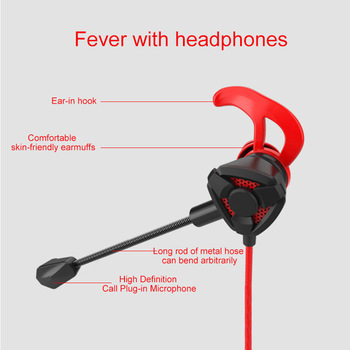 Portable Dynamic Noise Reduction In-Ear Wired Call Earphones Gaming Computer Earpiece With Dual Mic 4