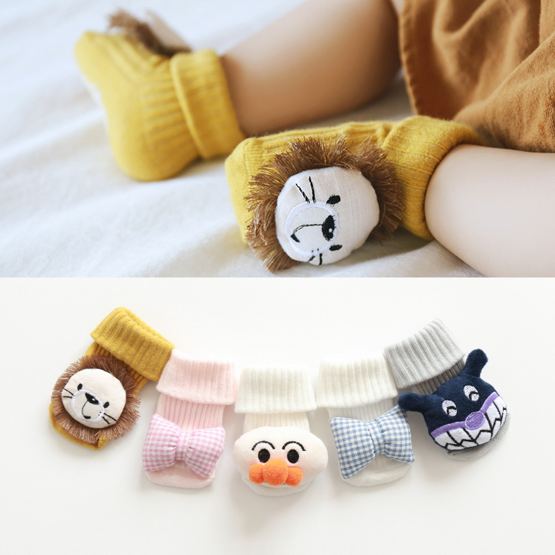 New Infant Cotton Velvet Warm Cartoon Lion Doll Anti-slip Toddler Floor Socks Autumn & Winter Thick Warm Baby Socks Wholesale