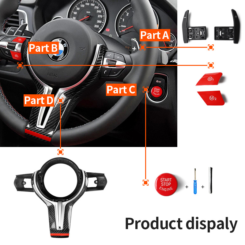 For BMW M2 F87 M3 F80 M4 F82 M6 F06 F12 F13 X5M F85 X6M F86 Carbon Fiber Steering Wheel Trim Cover for decoration car styling image