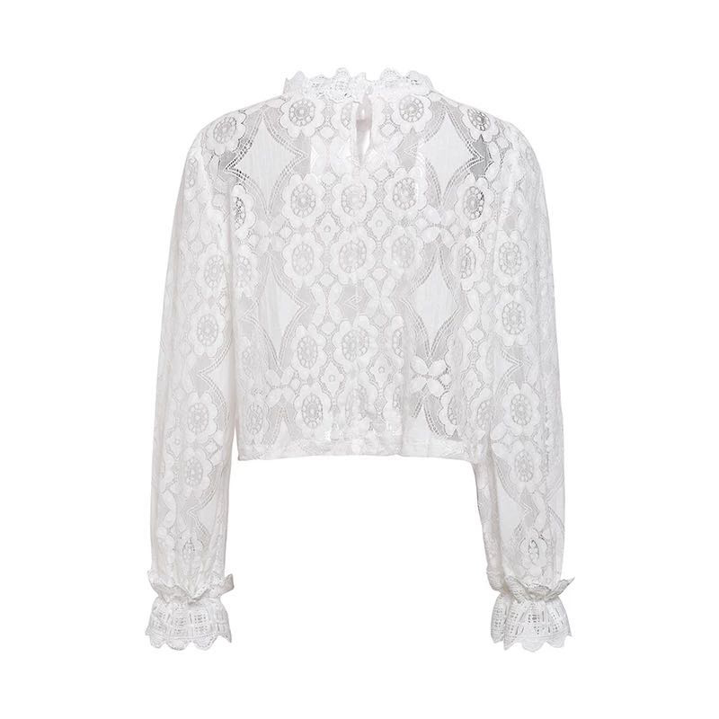 Women Sexy Lace Blouse Shirt Elegant White Hollow Out Embroidery Femme Blouse Long Lantern Sleeve Summer Tops Female