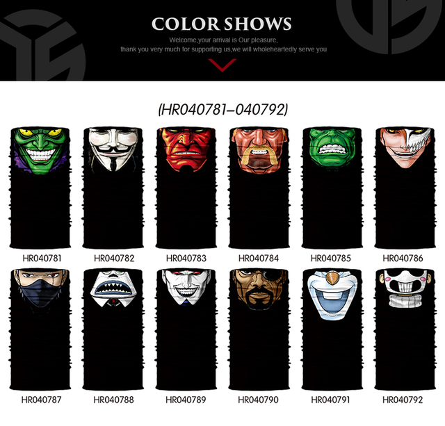 3D Seamless Multifunction Magic Comic Characters Tubular Skull Shield Face Guard Headband Bandana Headwear Ring Head Scarf Men 2