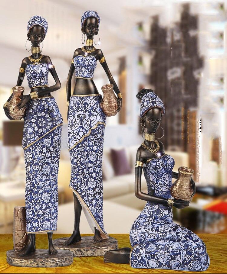 Ev ve Bahçe'ten Statü ve Heykelleri'de Egzotik afrika kadın tutan çömlek heykeli ev el sanatları oturma odası dekorasyon nesneleri ofis reçine heykel aksesuarları hediyeler title=