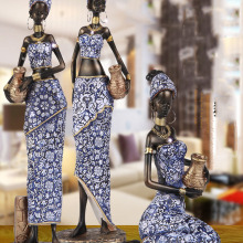 Sculpture-Accessories Statue Living-Room-Decoration Objects African Woman Office Home-Crafts