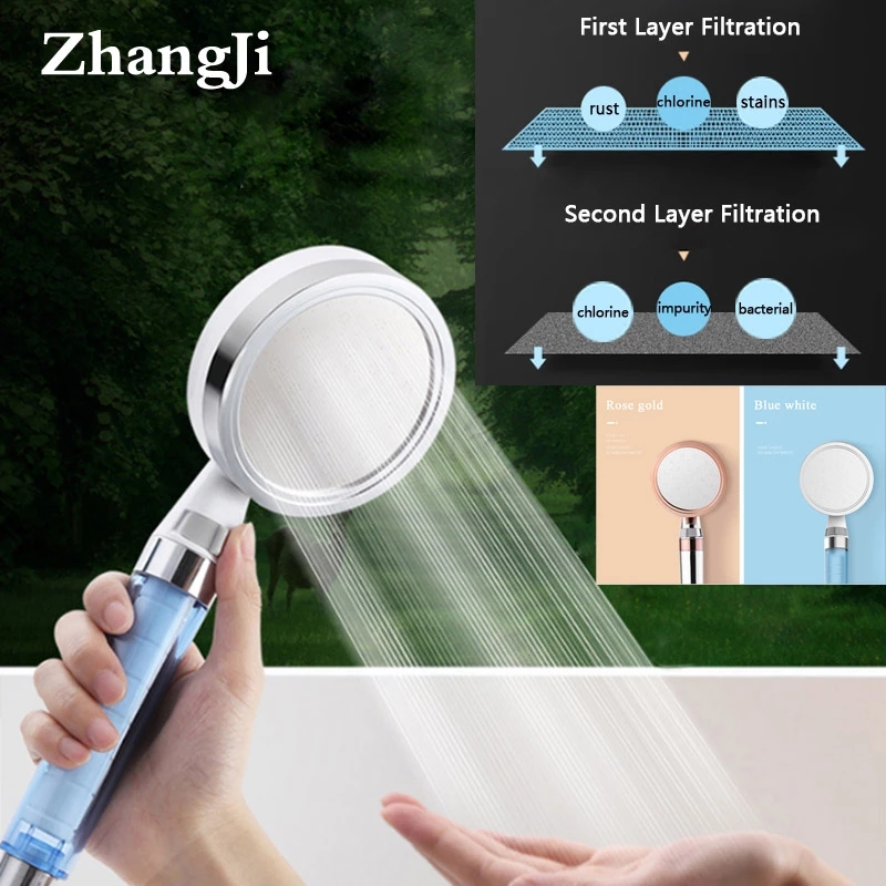 Zhangji 10cm big panel with 2 layer Filter Shower Head Water saving High Pressure with stop switch skin care shower ABS plastic