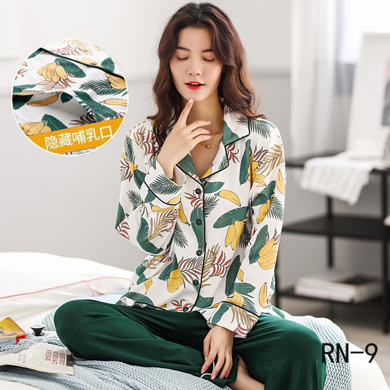 Pure Cotton Pregnant Breastfeeding Clothing Long Sleeve Nightgown Autumn Winter Maternity Pijamas Women Nursing Pajamas Sets