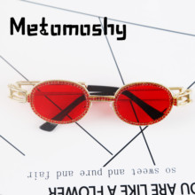 2019 New Diamond Round Sunglasses Women Luxury Brand Designer Fashion Crystal Female Alloy Clear Shades UV400 Eyewear