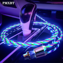Magnetic Charge Micro USB Type C Cable Fast Charging For iphone samsung xiaomi redmi note 7 LED lighting Glow Flowing Wire