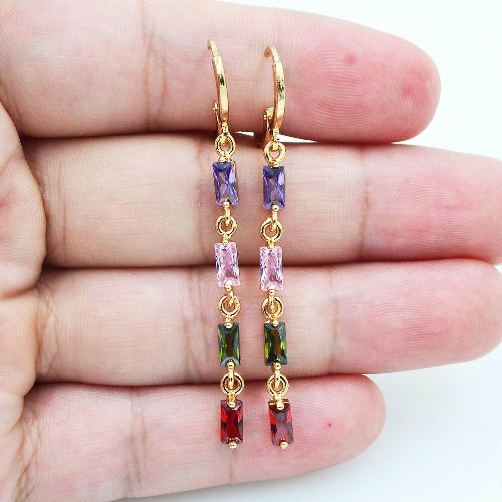 Модные ювелирные изделия, свежие стильные разноцветные радужные искусственные фианиты, висячие серьги золотого цвета для женщин