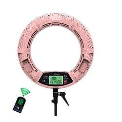 Yidoblo Pink FE-480II Photo Studio Ring Light LED Video Light Lamp LCD Screen Display RC Photographic Lighting 96W 5500K