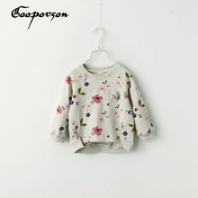 Shirt Girls Clothing Tops Floral-Printed Baby Kids Autumn Basic for 3-7years Old Grey