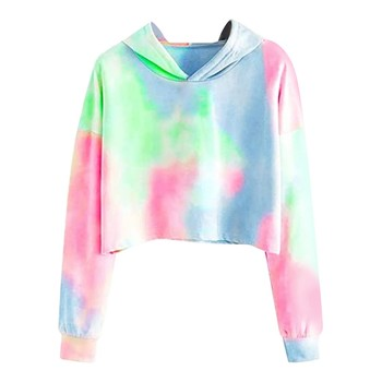 цена на худи толстовка женская hoodie Coat women's autumn Long Sleeve Hooded collar Pullover Tie-dye Print Thin section Sweatshirt Tops