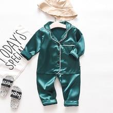Baby Sleepwear Kids Girls Boys Pajamas Toddler Baby Boys Long Sleeve Solid Tops+Pants Pajamas Outfits Child Nightclothes