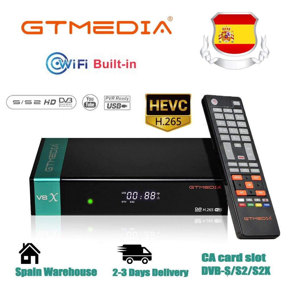 GTmedia V8X спутниковый ТВ приемник DVB-S/S2/S2X SCART + CA со светодиодным дисплеем 2,4G WiFi HD 1080P ТВ-приставка цифровой спутниковый ресивер