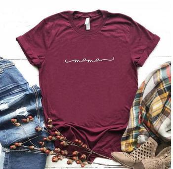Mama Letter Print T Shirt Women Short Sleeve O Neck Loose Tshirt 2020 Summer Women Tee Shirt Tops Camisetas Mujer trendy style scoop neck letter print short sleeves tee for women