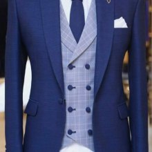 Men Suits Pants Jacket Tuxedo Groom Peaked Custom Wedding 3piece Vest Plaid Blue