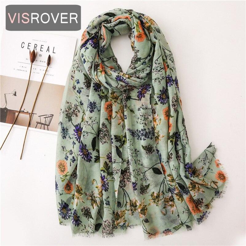 VISROVER 2020 Fashion Spring Summer Flower Printing Viscose Scarf Fringer Fashion Wraps Shawls Summer Beach Hijab Wholesales