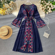 Summer Women's Dress Heavy Industry Embroidery V-neck Drawstring Trumpet Sleeves Ethnic Style Thin Waist Long Dresses LL040
