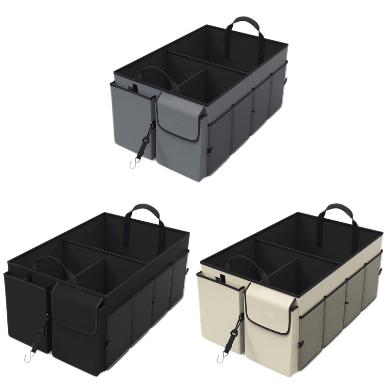 Vehicle Storage Box Car Trunk Storage Organizer - Collapsible Multi-Compartment - Adjustable Securing Straps