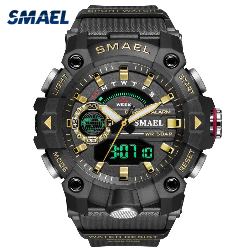 SMAEL Brand Men Sports Watches Dual Display Digital Led Electronic Quartz Wristwatches Waterproof Military Watch Montre Homme